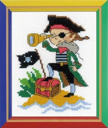 Riolis Cross Stitch Kit.BRAVE PIRATE. Suitable for kids or beginners.